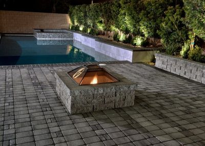 Scottsdale fire pit in swimming pool