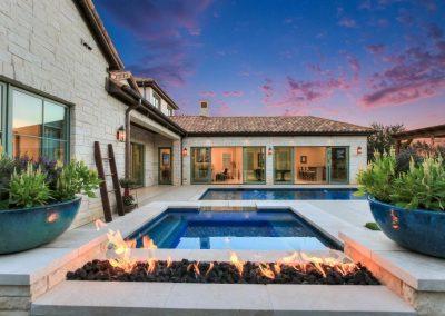 Scottsdale swimming pool fire pit